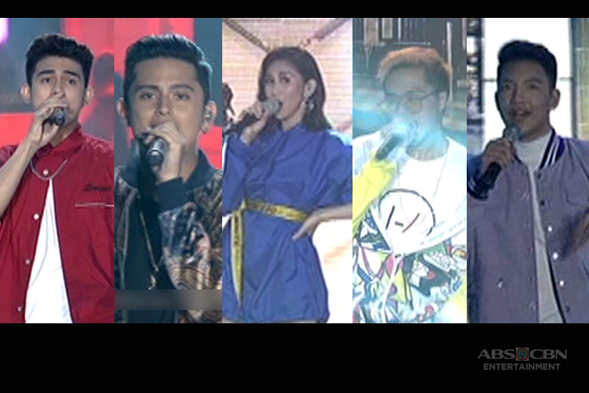 Sarah G with the singing heartthrobs in an energy-packed performance